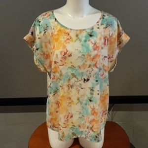 Like New Apt 9 Silky Watercolor Top Size Large